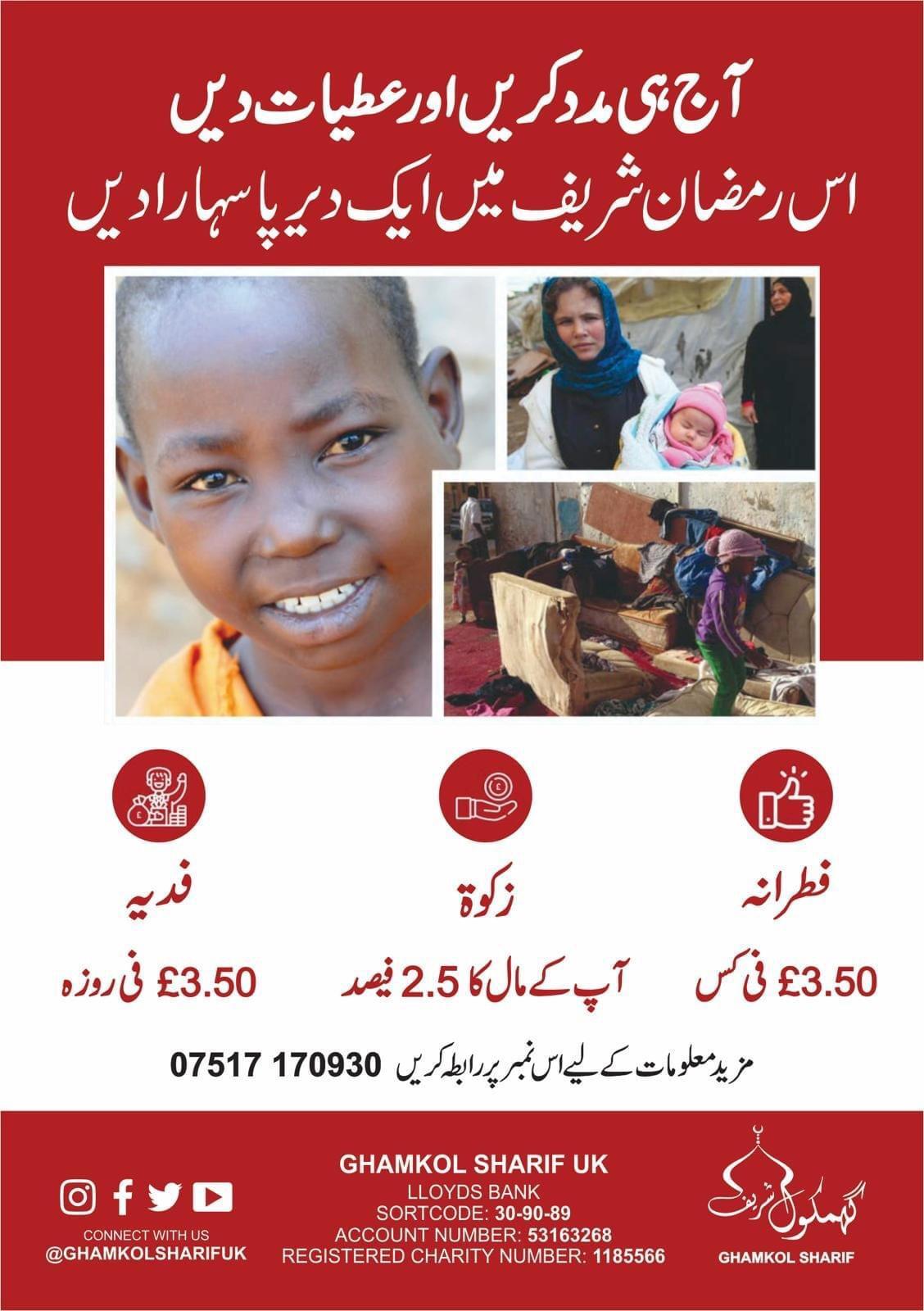 Urdu poster for Zakat, Fidya
